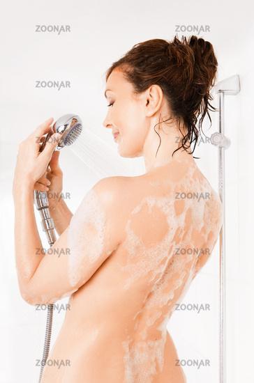 woman enjoys  in the bathtub.