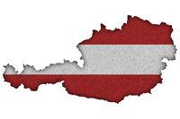 Karte und Fahne von Österreich auf Filz - Map and flag of Austria on felt