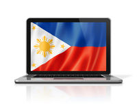 Philippines flag on laptop screen isolated on white. 3D illustration