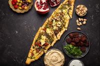 Arab Turkish assorted food from above copy space