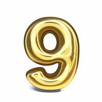 Golden font Number 9 NINE 3D