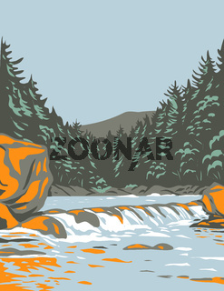 The Katahdin Woods and Waters National Monument in Northern Penobscot County Maine Including Section of East Branch Penobscot River WPA Poster Art