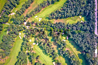 Golf course in Monza aerial view,
