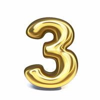Golden font Number 3 THREE 3D