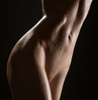 Cropped image of slim tanned body isolated shot