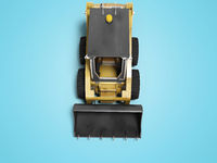Yellow diesel loader with front bucket top view 3d render on blue background with shadow