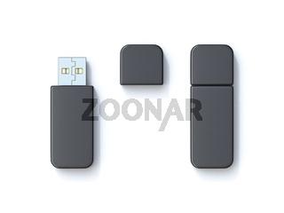 Black usb flash drive template 3D
