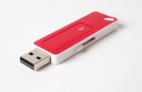 Flash drive on white background.