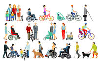 Group of People and Families with Handicaps and Walking Aids, take care, Isolated