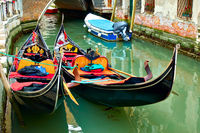 Gondolas on  canal in Venice