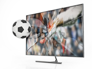 Soccer ball floating out of LCD TV with shattered screen. 3D illustration