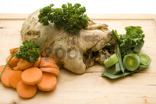 Karotten Sellerie und Lauch