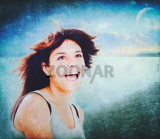 Summer Fun. Grungy female portrait