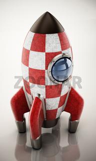 Vintage rocket ship isolated on white background. 3D illustration