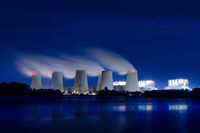 Lignite power plant in the evening