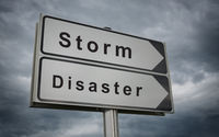 Storm Disaster road sign.