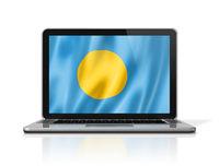 Palau flag on laptop screen isolated on white. 3D illustration