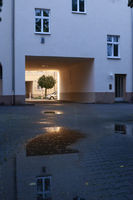 Illuminated drivewy to a communal housing