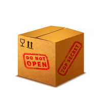 Bright realistic cardboard box with cargo signs and red top secret stamp on white