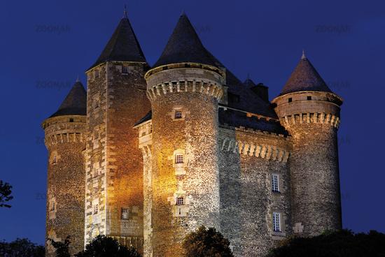 France: Chateau de Bousquet in Laguiole by night