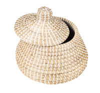 moroccan wicker basket with ajar lid isolated