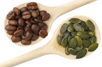 Coffee beans and pumpkin seeds