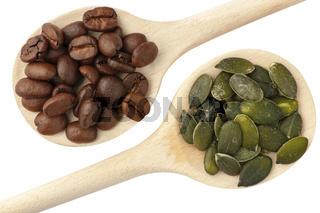 Coffee beans and pumpkin seeds