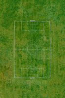 Top down view of green soccer field