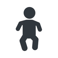 Little baby sign, young child icon on white background