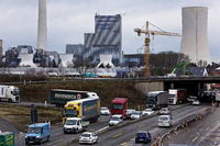 Lots of traffic on the A 43 motorway with power plant in the background, Herne, Germany, Europe