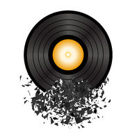 Retro Vinyl Disc Isolated on White Background. Damaged Musical Symbol. Plastic Explode with a lot of Patrts