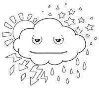 Weather Cloud Line Cartoon