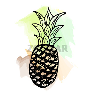 Imitation of watercolor paint. Bright and juicy pineapple illustration, on a white background.