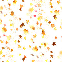 A seamless pattern with golden yellow abstract watercolour stars on a white background