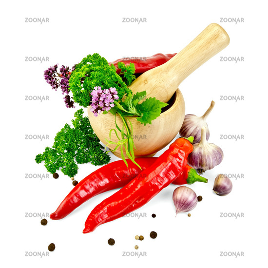 Herbs and spices in a mortar