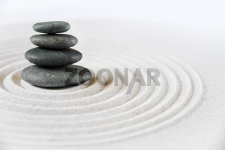Zen japanese garden and black stones background