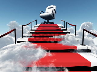 upwards stairs and modern armchair in the end of a way in environment of clouds and sky