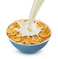 Corn flakes with pouring milk isolated on white background