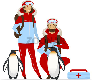 Arctic animal rescue flat color vector illustration. Female and male veterinarians. Emperor penguin family medical aid. People and animal isolated cartoon character on white background