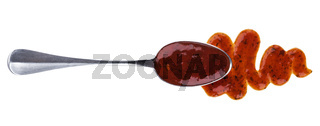 Salsa sauce with spoon isolated on white background. Top view