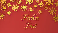 Modern German Merry Christmas background with snowflakes on red
