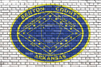 flag of Benton County, Arkansas painted on brick wall