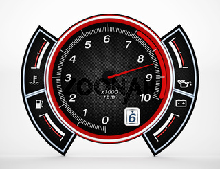 Engine RPM gauge. 3D illustration.