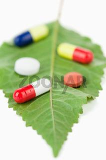 Pills on a leaf