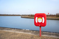 Life ring as safety equipment on the Mittelland Canal near the ship lift at Magdeburg in Germany