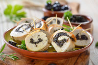 Chicken roulade as finger food