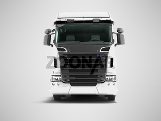 White truck with black inserts with carrying capacity of up to five tons front view 3d render on gray background with shadow