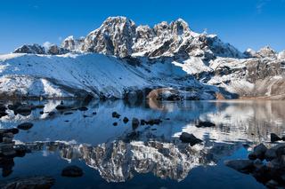 Sacred Gokyo Lake and mountain peak in Himalayas