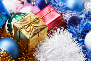 gifts and christmas decoration background