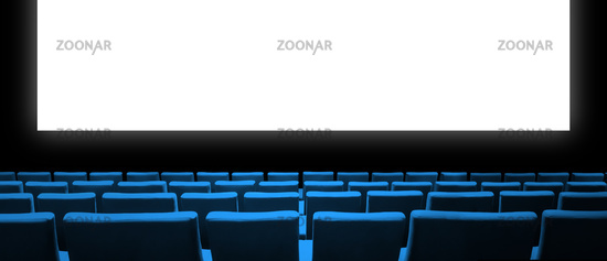 Cinema movie theatre with blue seats and a blank white screen. Horizontal banner